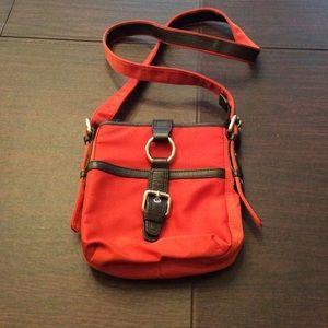Burnt orange crossbody nylon bag